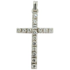 14 Karat White Gold Diamond Cross Pendant Charm