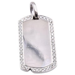 14 Karat White Gold Diamond Dog Tag Pendant