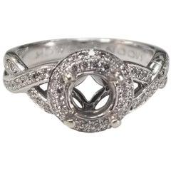 14 Karat White Gold Diamond Double Row Halo Ring