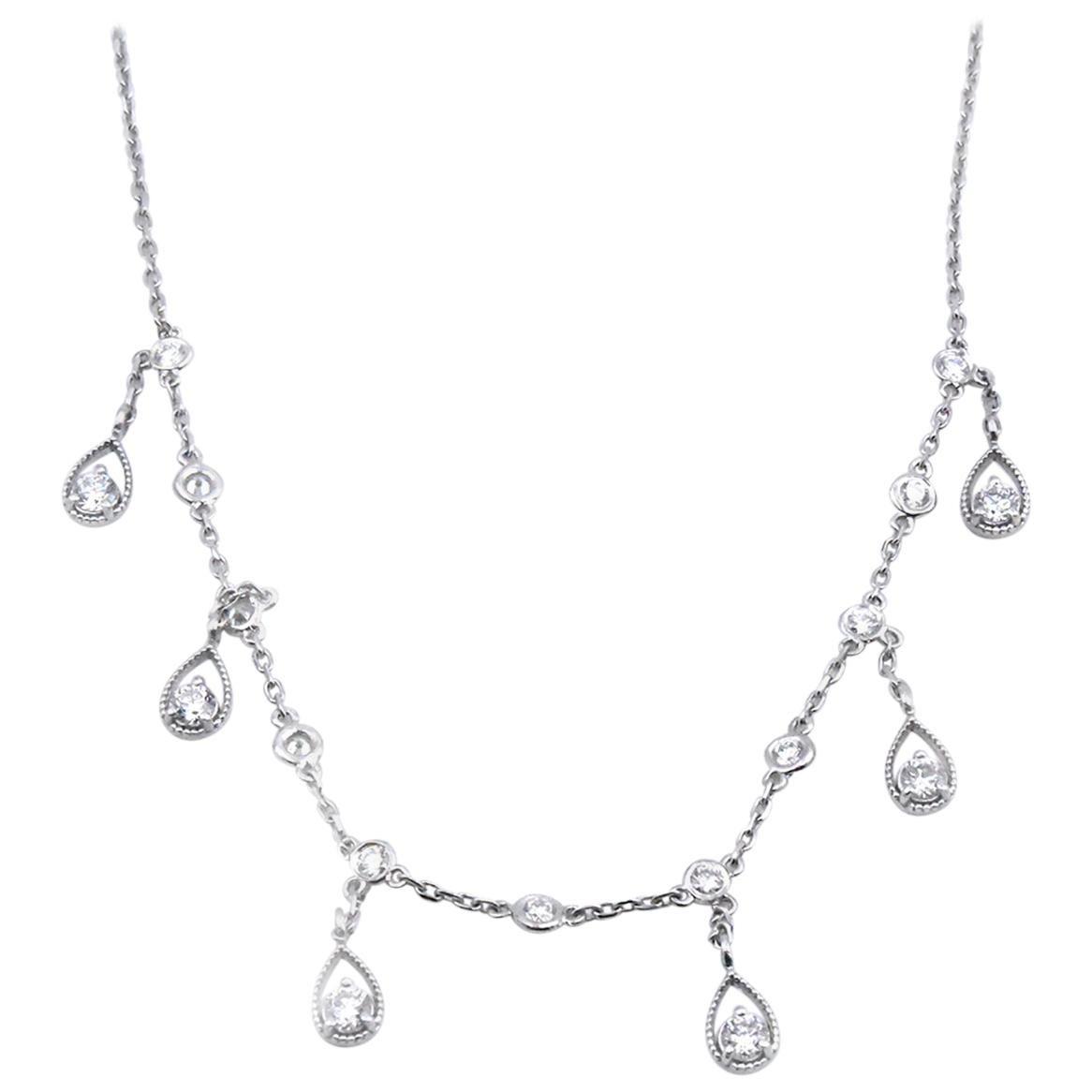 14 Karat White Gold Diamond Drop Necklace