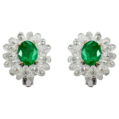 PANIM Diamond Briolette and Emerald Cluster Earrings in 14Karat White Gold
