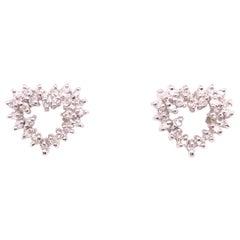 14 Karat White Gold Diamond Encrusted Heart Button / Stud Earrings