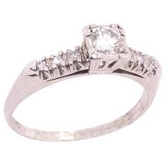 14 Karat White Gold Diamond Engagement Bridal Wedding Ring