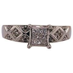 14 Karat White Gold Diamond Engagement Ring Wedding Band Stack Ring