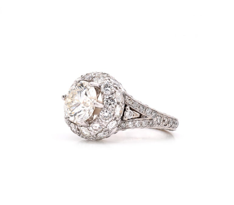 Round Cut 14 Karat White Gold Diamond Engagement Ring with Pave Diamond Setting For Sale