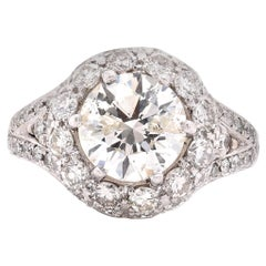14 Karat White Gold Diamond Engagement Ring with Pave Diamond Setting