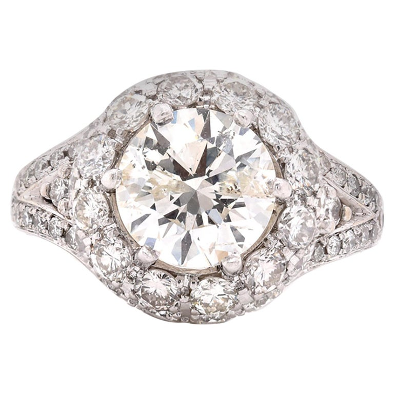 14 Karat White Gold Diamond Engagement Ring with Pave Diamond Setting For Sale