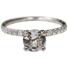 14 Karat White Gold Diamond Engagement Ring with White Sapphire Center