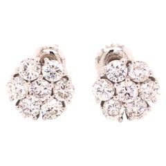 14 Karat White Gold Diamond Floral Stud Earrings
