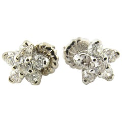 14 Karat White Gold Diamond Flower Earrings