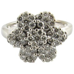 14 Karat White Gold Diamond Flower Ring