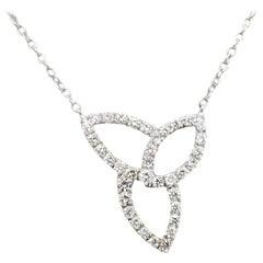 14 Karat White Gold Diamond Free Form Necklace