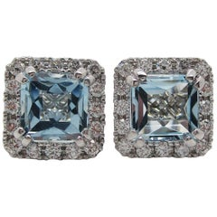 14 Karat White Gold Diamond French Cut Aquamarine Stud Earrings