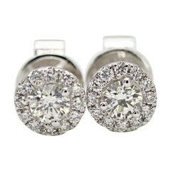 14 Karat White Gold Diamond Halo Earrings