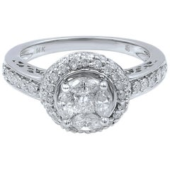 14 Karat White Gold Diamond Halo Engagement Ring 1.13 Carat