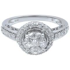 14 Karat White Gold Diamond Halo Engagement Ring 1.13 Carat