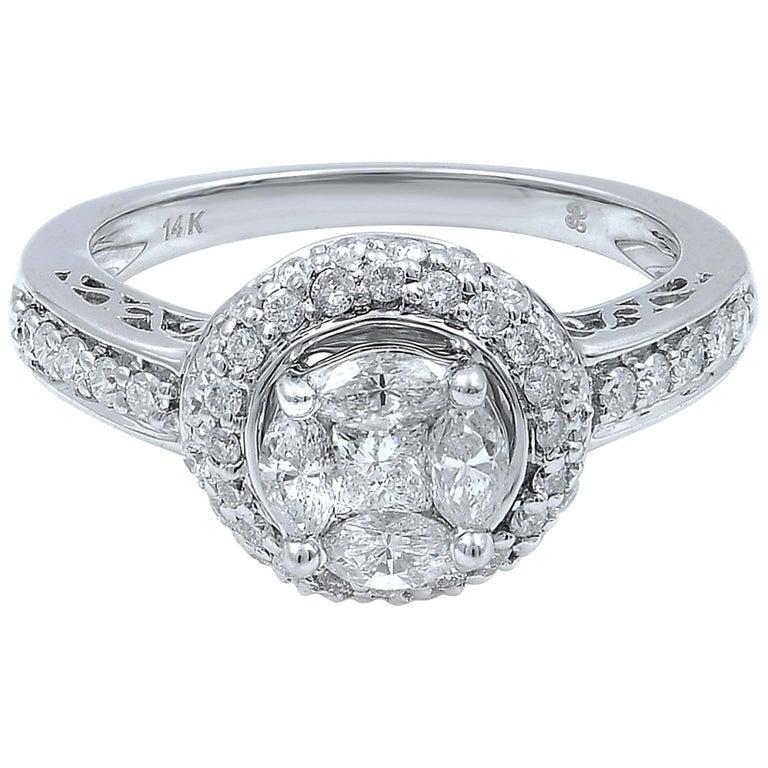 14 Karat White Gold Diamond Halo Engagement Ring 1.13 Carat For Sale