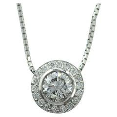 14 Karat White Gold Diamond Halo Pendant 1.31 Carat