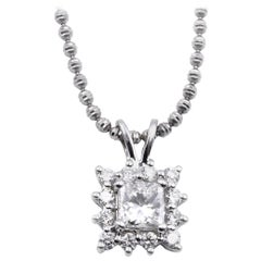 14 Karat White Gold Diamond Halo Pendant Necklace