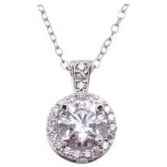 14 Karat White Gold Diamond Halo Pendant Necklace