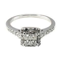 14 Karat White Gold Diamond Halo Ring