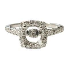 14 Karat White Gold Diamond Halo Ring That Can Fit a 1.50 Carat