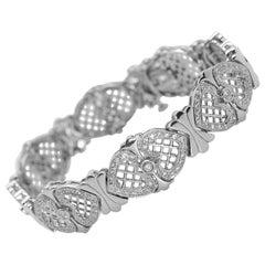 14 Karat White Gold Diamond Heart Bracelet 1.50 Carat