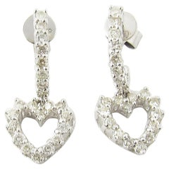 14 Karat White Gold Diamond Heart Earring