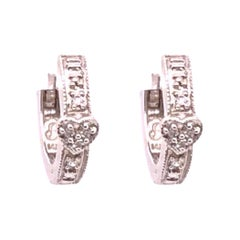 14 Karat White Gold Diamond Heart Front and Back Hoop Earrings