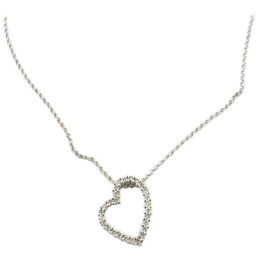 14 Karat White Gold Diamond Heart Necklace