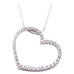 14 Karat White Gold Diamond Heart Necklace