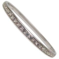 14 Karat White Gold Diamond Hinged Bangle Bracelet