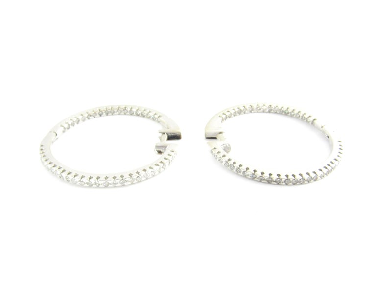 Round Cut 14 Karat White Gold Diamond Hoop Earrings For Sale