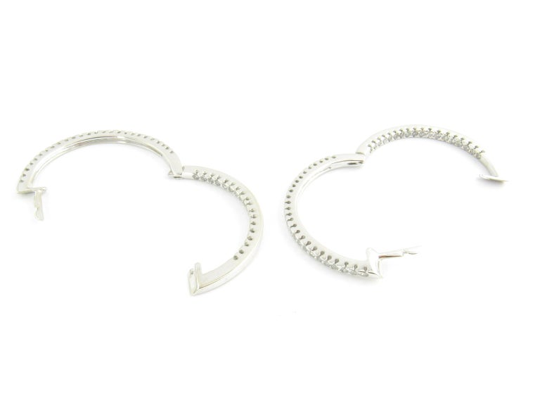 Women's 14 Karat White Gold Diamond Hoop Earrings For Sale