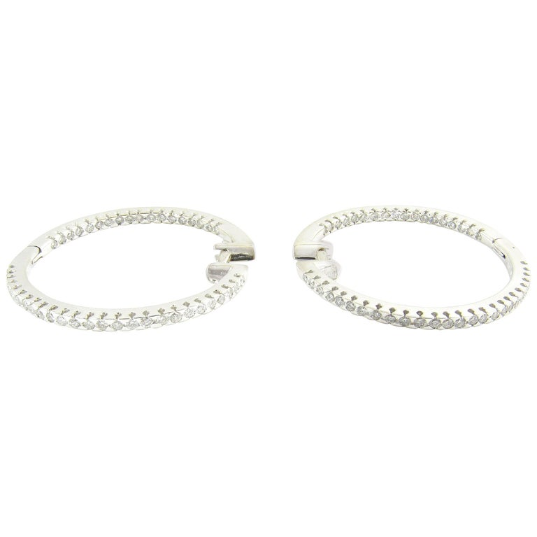 14 Karat White Gold Diamond Hoop Earrings For Sale