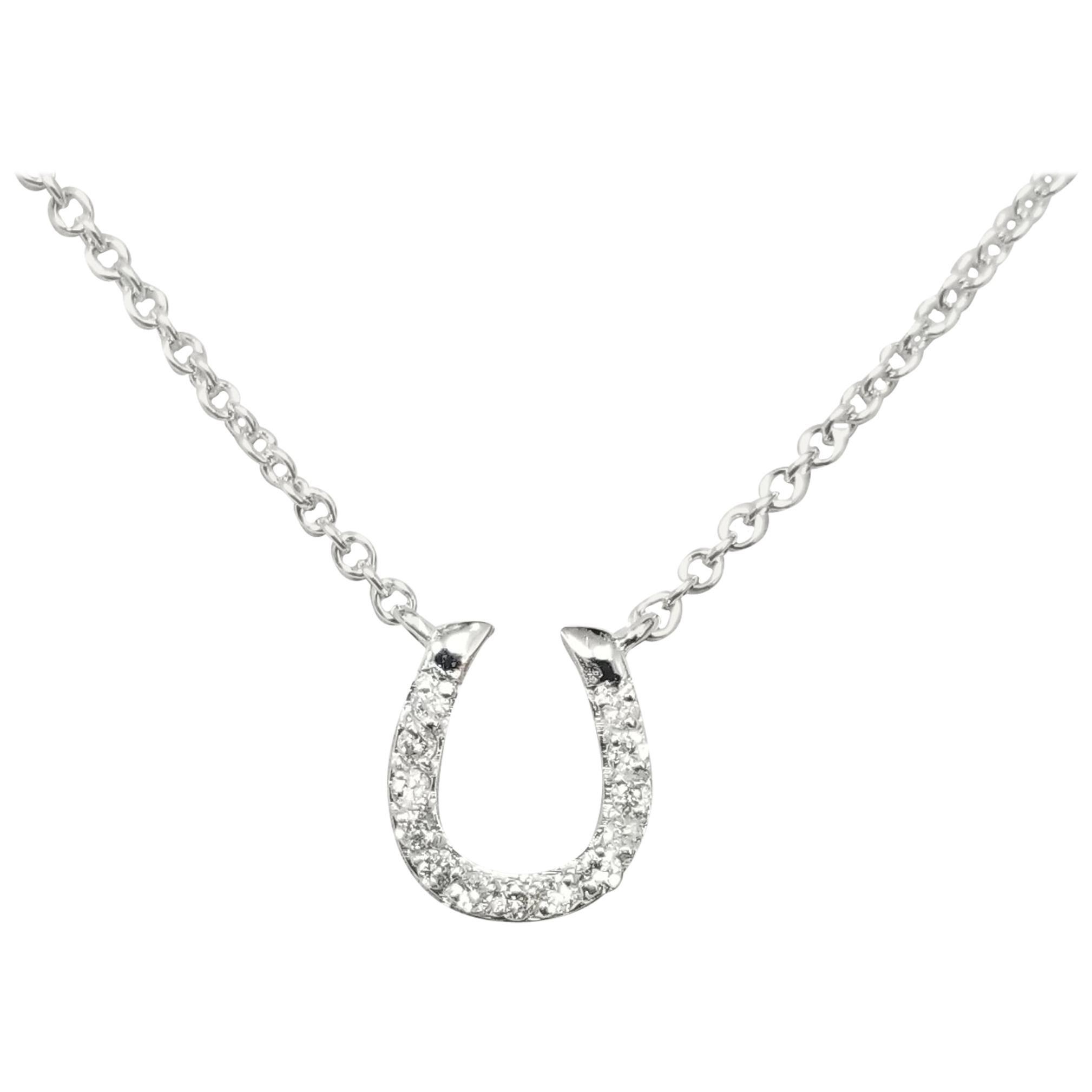 14 Karat White Gold Diamond Horse Shoe Necklace