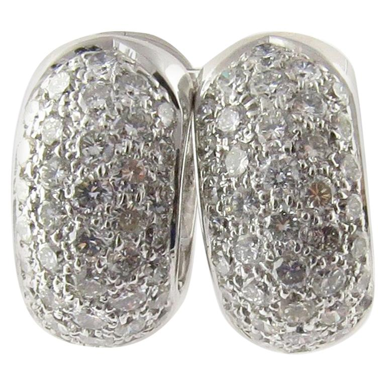 14 Karat White Gold Diamond Huggie Earrings For Sale