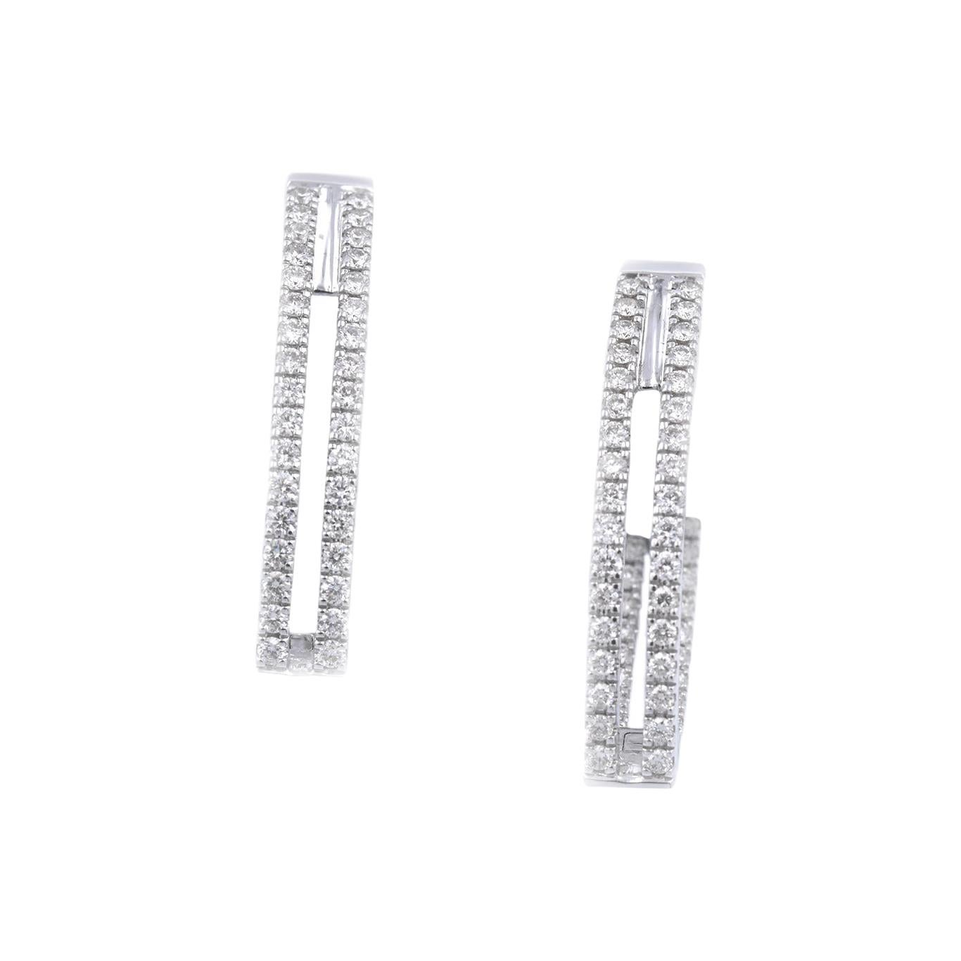 14 Karat White Gold Diamond Huggie Earrings