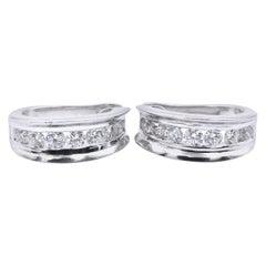 14 Karat White Gold Diamond Huggie Earrings
