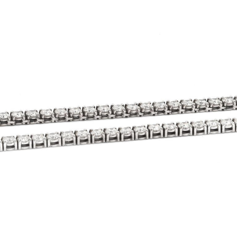 Designer: custom Material: 14K white gold Diamonds: 160 round brilliant cut = 19.20cttw Color: G Clarity: SI1-2 Dimensions: necklace measures 23-inches long   Weight: 29.10 grams