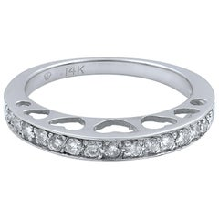 14 Karat White Gold Diamond Inset Heart Cut Out Wedding Band Ring