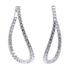 14 Karat White Gold Diamond Inside Outside Curved Hoop Earrings