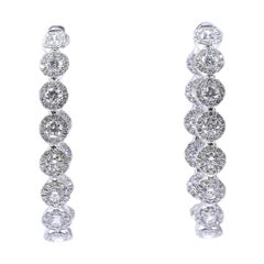14 Karat White Gold Diamond Inside Outside Oval Hoop Earrings