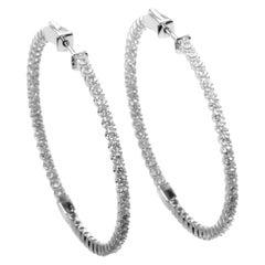 14 Karat White Gold Diamond Large Hoop Earrings