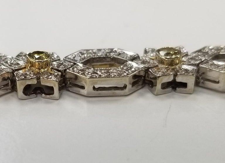 14 Karat White Gold Diamond Link Bracelet with Natural Yellow Diamonds For Sale 1