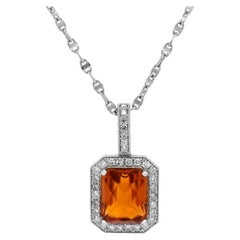 14 Karat White Gold Diamond Madeira Citrine Pendant Oval Link Chain Necklace