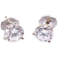 14 Karat White Gold Diamond Martini Studs