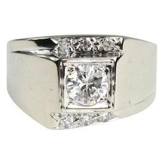 14 Karat White Gold Diamond Men's Midcentury Ring, 1960s