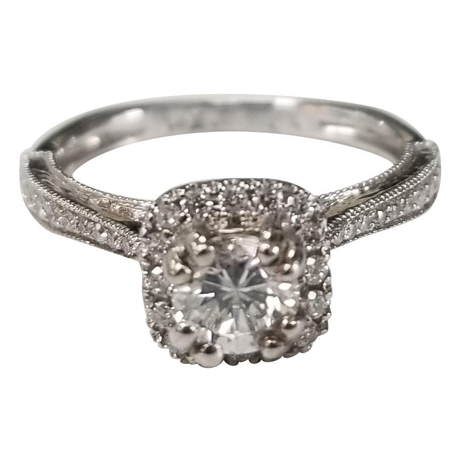 14 Karat White Gold Diamond Micro Pave Ring