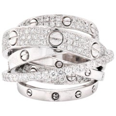 14 Karat White Gold Diamond Multi Band Fashion Ring